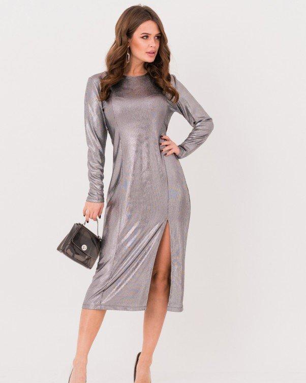 Серебристое нарядное платье с боковым разрезом S