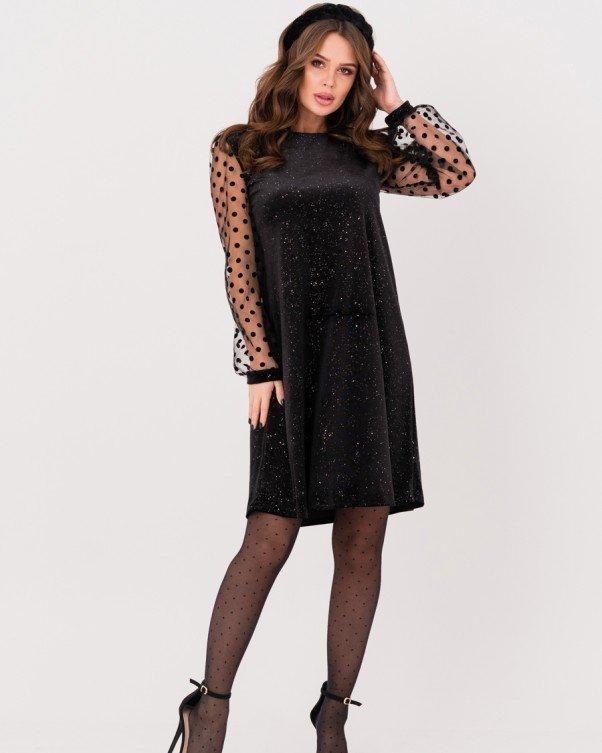 Черное велюровое платье с прозрачными рукавами (S M L XL)