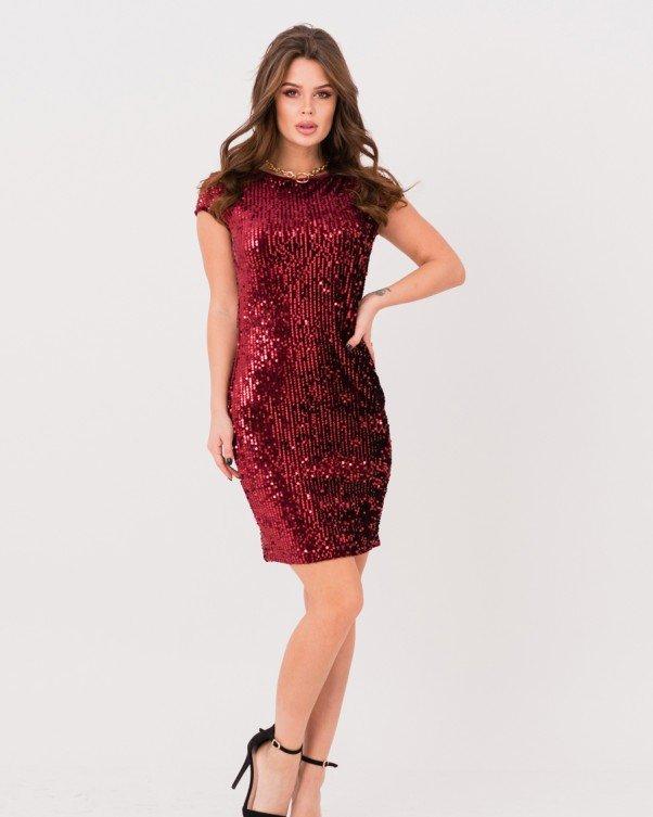 Бордовое облегающее платье с пайетками размер M