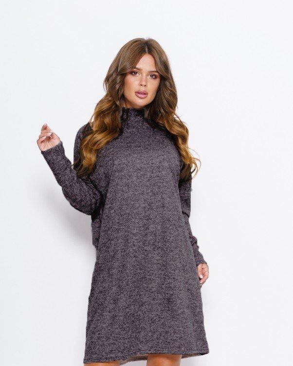 Темно-серое ангоровое свободное платье с воротником-стойкой S