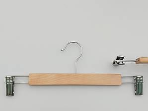Плечики длиной 35 см вешалки  деревянные с прищепками зажимами для брюк и юбок светлые