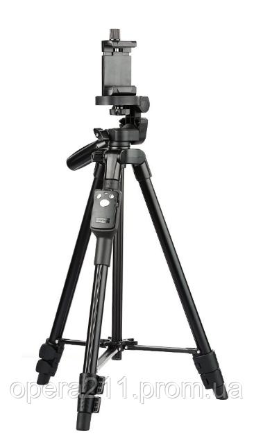 Профессиональный штатив телескопический для камеры и телефона трипод Yunteng VCT-5208 монопод Черный BLUETOOTH
