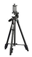 Профессиональный штатив телескопический для камеры и телефона трипод Yunteng VCT-5208 монопод Черный BLUETOOTH, фото 1