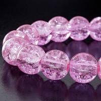 """Бусины """"Битое Стекло"""" Круглые, Цвет: Розовый яркий, Диаметр: 4мм, Отверстие 1мм, около 200шт/нить, (УТ0002855)"""