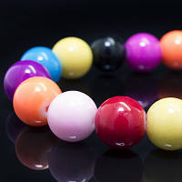 Бусины Стекло Окрашенные экокраской, круглые, Цвет: Разноцветный, Диаметр: 10мм, Отверстие 1мм, около 43шт/нить, (УТ0002666)