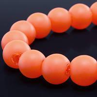 Бусины стекло окрашенные, Прорезиненые, Неоновые, Круглые, Цвет: Оранжевый, Диаметр: 8мм, Отверстие 1мм, около 104шт/нить, (УТ0002333)
