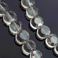 Бусины стеклянные круглые плоские, прозрачные, граненые, Цвет: Серый, Размер: 6х4мм, Отв-тие: 1мм, около 72шт/нить, (УТ000007008)