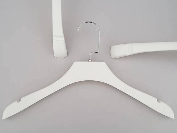 Плечики вешалки тремпеля  TZ0065 белого цвета под дерево, длина 39 см, фото 2