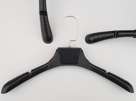 Плечики вешалки тремпеля TZ8821 с антискользящим ребристым плечом черного цвета, длина 38,5 см, фото 2