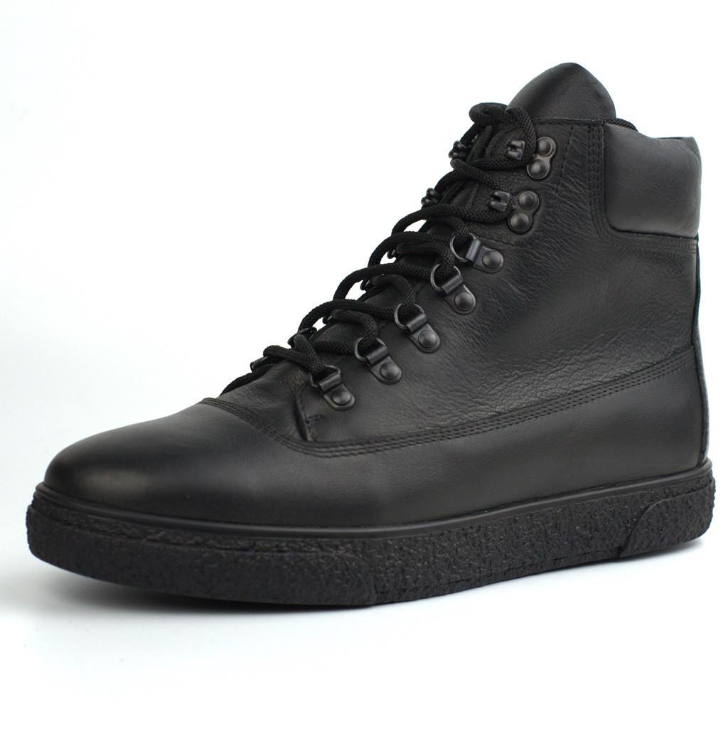 Черевики зимові чорні шкіряні на хутрі чоловіче взуття великих розмірів Rosso Avangard Taiga North Black Lion BS