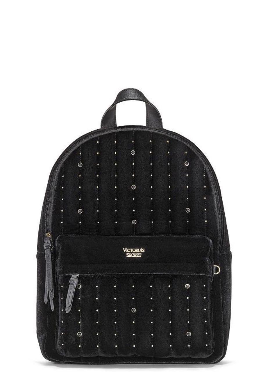 Victoria's Secret Рюкзак Большой Бархатный Velvet Stud City Backpack, Черный
