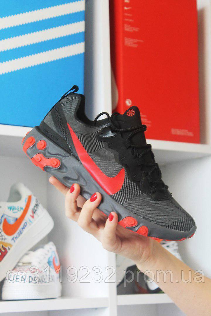 Мужские кроссовки  Nike React Element 87 Black Red (черный/красный)