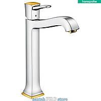 Смеситель для умывальника HANSGROHE METROPOL CLASSIC, однорычажный,  хром/золото
