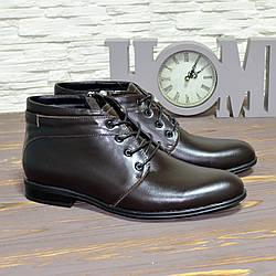 Черевики чоловічі шкіряні на шнурках, колір коричневий