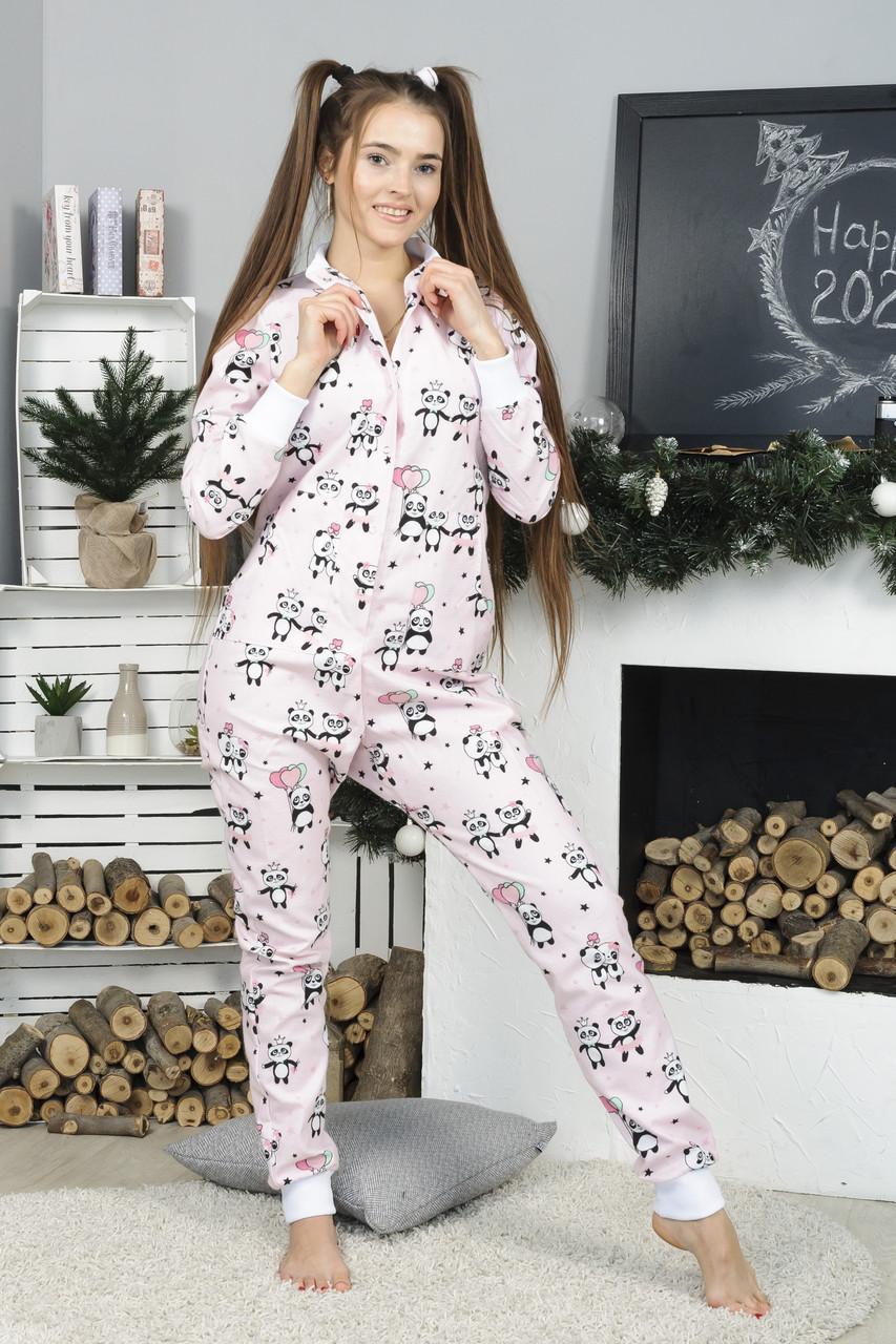 Жіноча піжама бавовняна з кишенею на попі рожева панда. Ідеальний подарунок. Багато квітів
