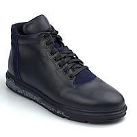 Зимние ботинки синие кожаные на меху мужская обувь больших размеров Rosso Avangard North Lion Blu 03-227 BS, фото 1