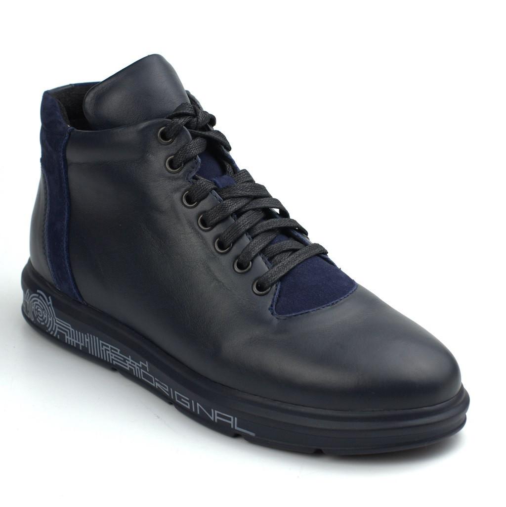 Зимние ботинки синие кожаные на меху мужская обувь больших размеров Rosso Avangard North Lion Blu 03-227 BS