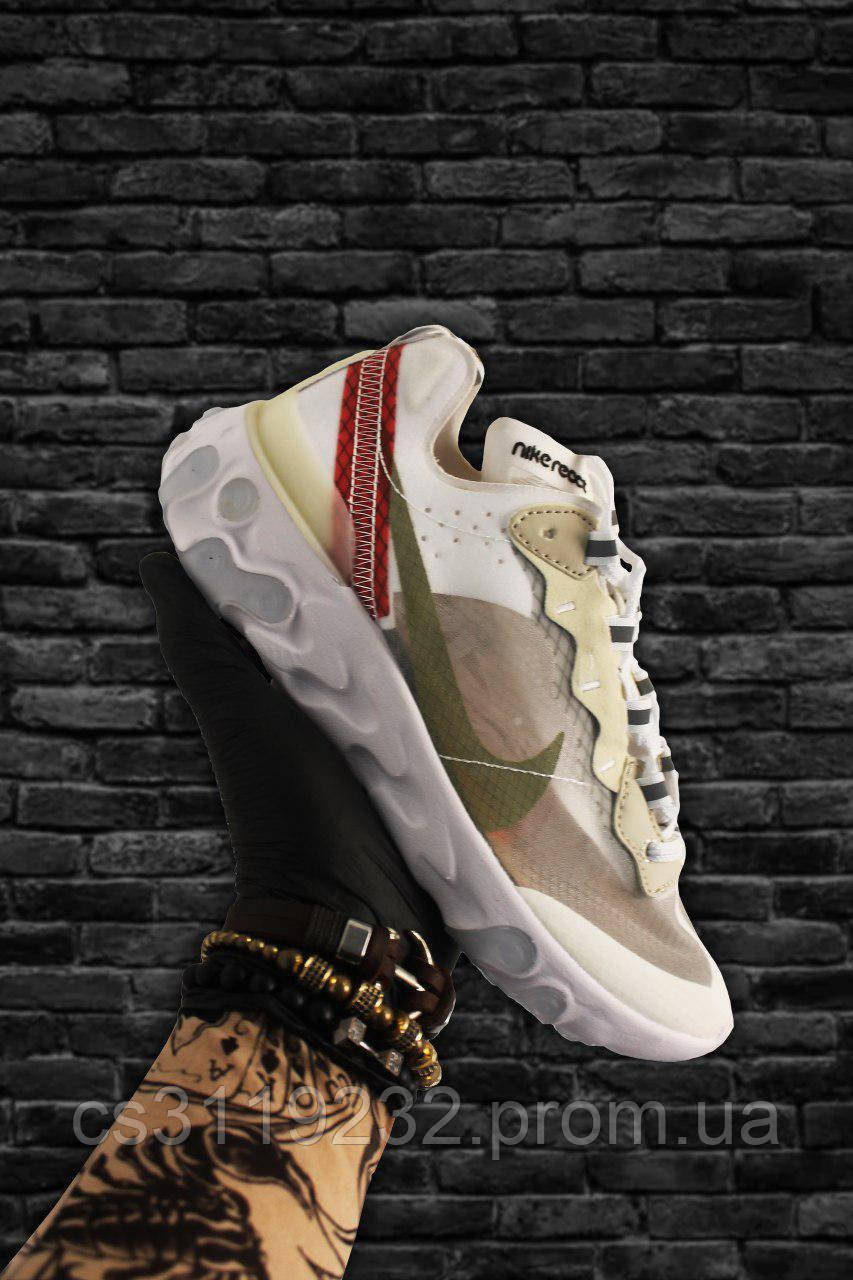 Женские кроссовки Nike React Element 87 Beige White (бежевый/белый)