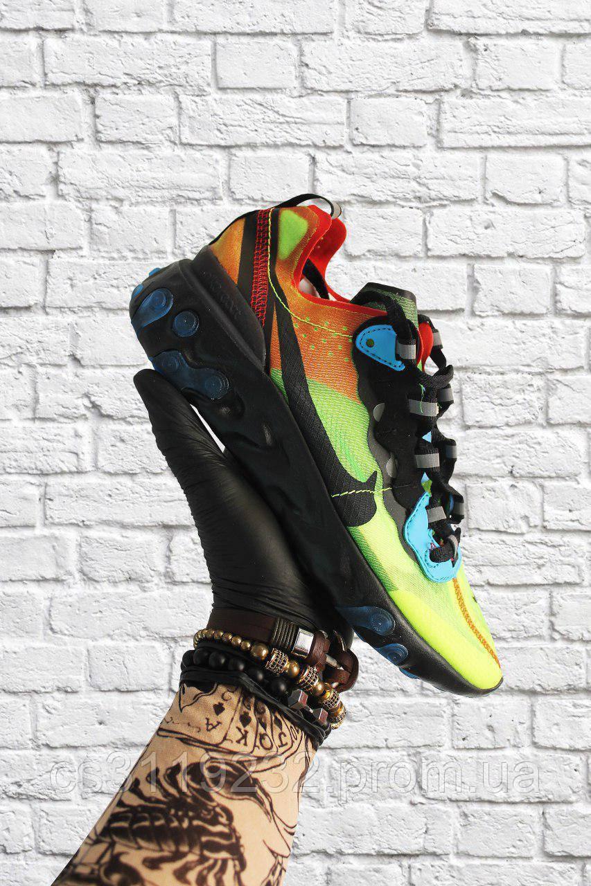 Женские кроссовки Nike React Element 87 Green Orange Black  (зелёный/оранжевый/черный)