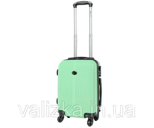 Пластиковый чемодан ручная кладь  Fly-063 на 4-х колесах мятный, фото 2