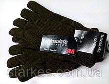 Перчатки вязанные Тинсулейт, мелкий опт, код : 712, черные и олива.