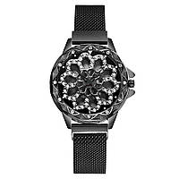 Женские часы с вращающимся крутящимся циферблатом Chanel Flower Diamond Rotation Watch (черный)