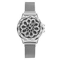 Женские часы с вращающимся крутящимся циферблатом Chanel Flower Diamond Rotation Watch (серебряный)