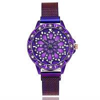 Женские часы с вращающимся крутящимся циферблатом Chanel Flower Diamond Rotation Watch (фиолетовый)