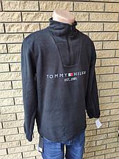 Кофта, толстовка мужская утепленная флисовая на молнии высокого качества брендовая реплика TOMMY HILFIGER, фото 3