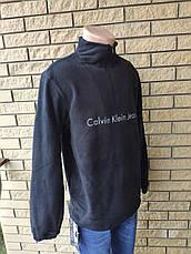 Кофта, толстовка мужская утепленная флисовая на молнии высокого качества брендовая реплика CALVIN KLEIN, фото 3