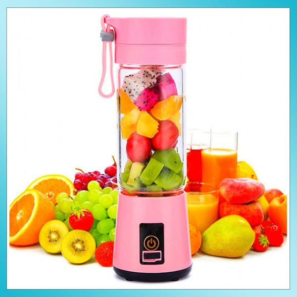 Блендер портативный USB Juice Cup Smoothie Maker с аккумулятором Розовый