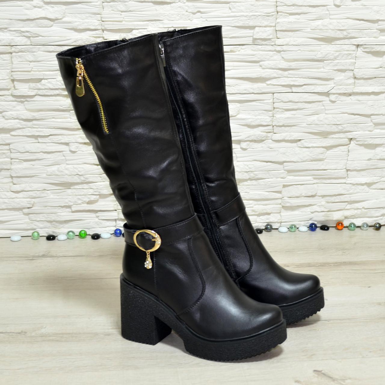 Сапоги черные кожаные женские демисезонные на высоком каблуке