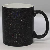 Чашка сублимационная хамелеон матовая с блестками ЧЕРНАЯ