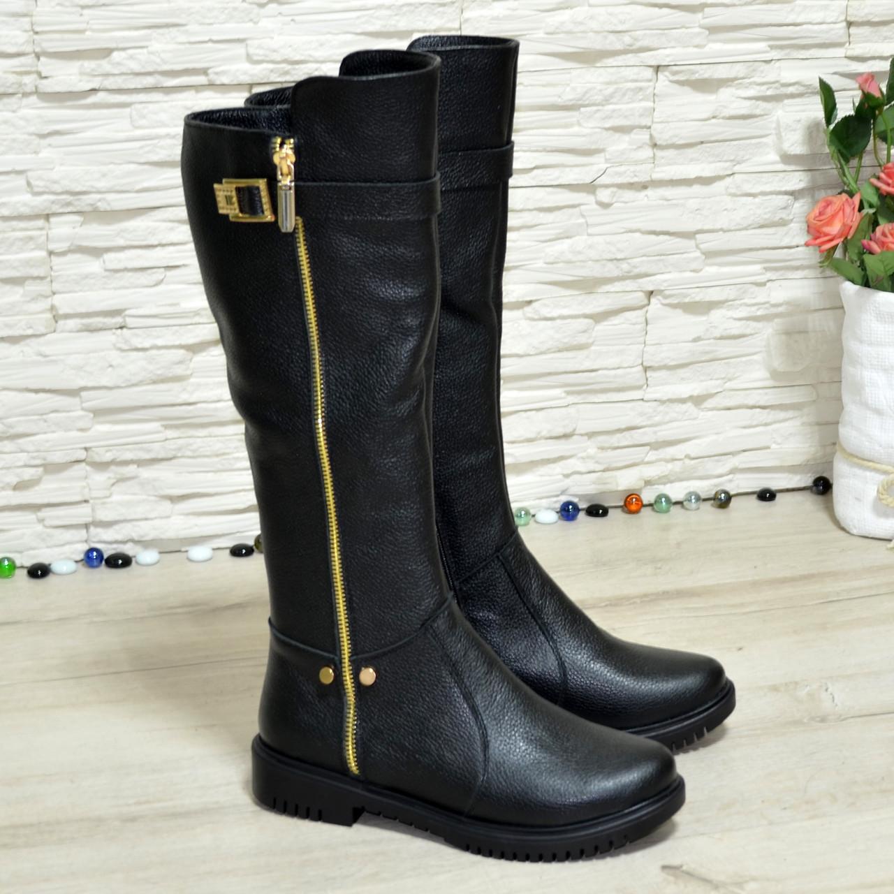 Сапоги зимние кожаные женские на невысоком каблуке