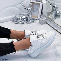 Кожаные кроссовки на толстой подошве, фото 3