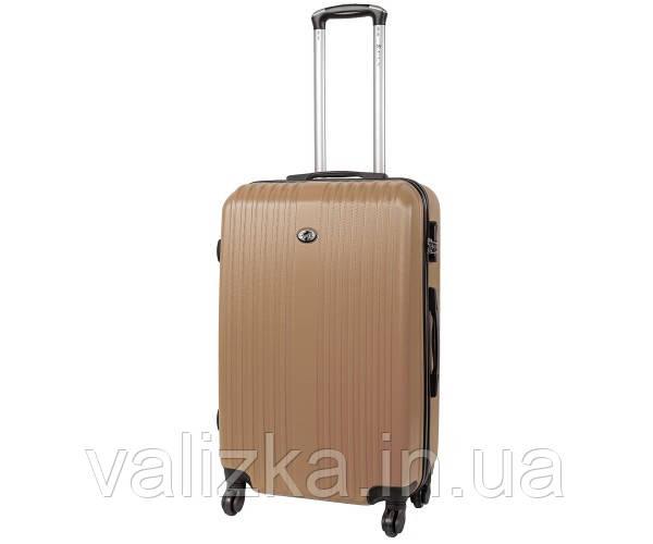 Пластиковый средний чемодан Fly-063 на 4-х колесах шампань