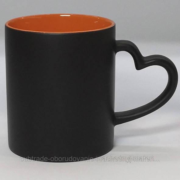 Чашка сублимационная хамелеон матовая LOVE цв.внутри ОРАНЖЕВАЯ
