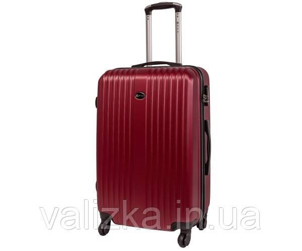 Пластиковый средний чемодан Fly-063 на 4-х колесах бордовый