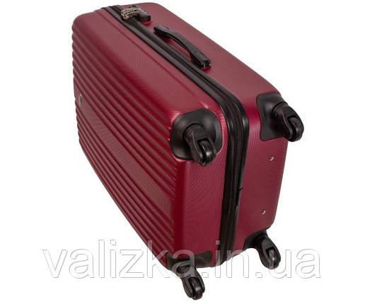 Пластиковый средний чемодан Fly-063 на 4-х колесах бордовый, фото 2