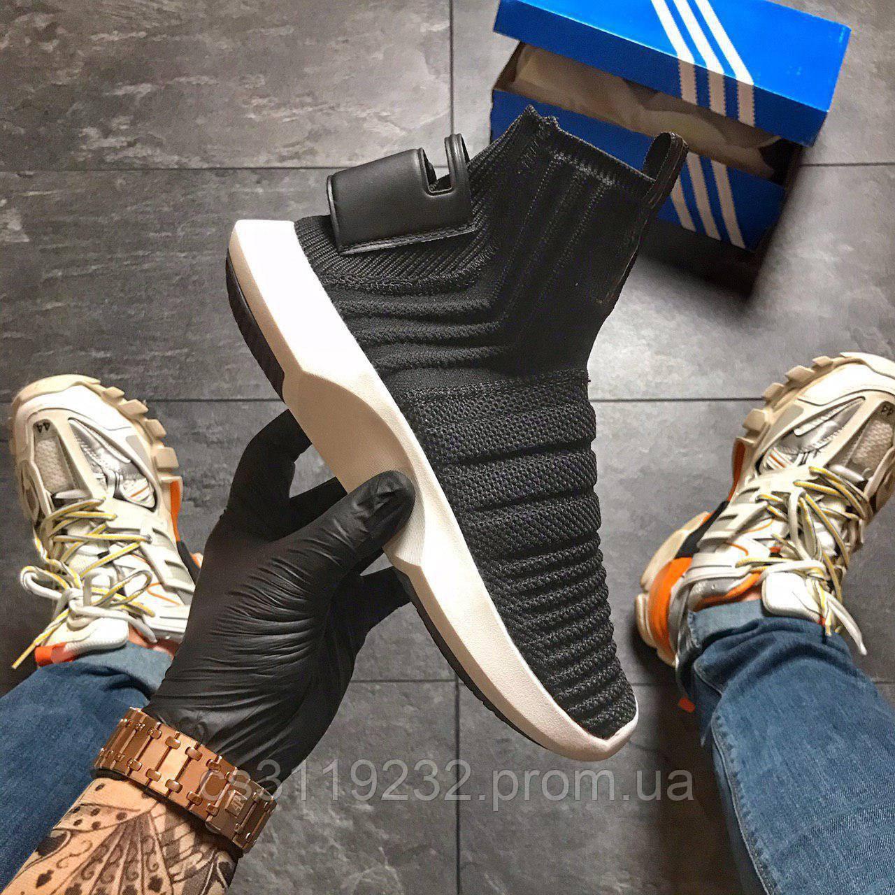 Мужские кроссовки Adidas Crazy 1 Adv Sock Primeknit (черные)