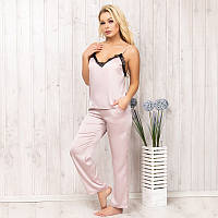 Комплект-пижама женский шелковый: майка и штаны New Fashion SA-130pudra | 1 шт.