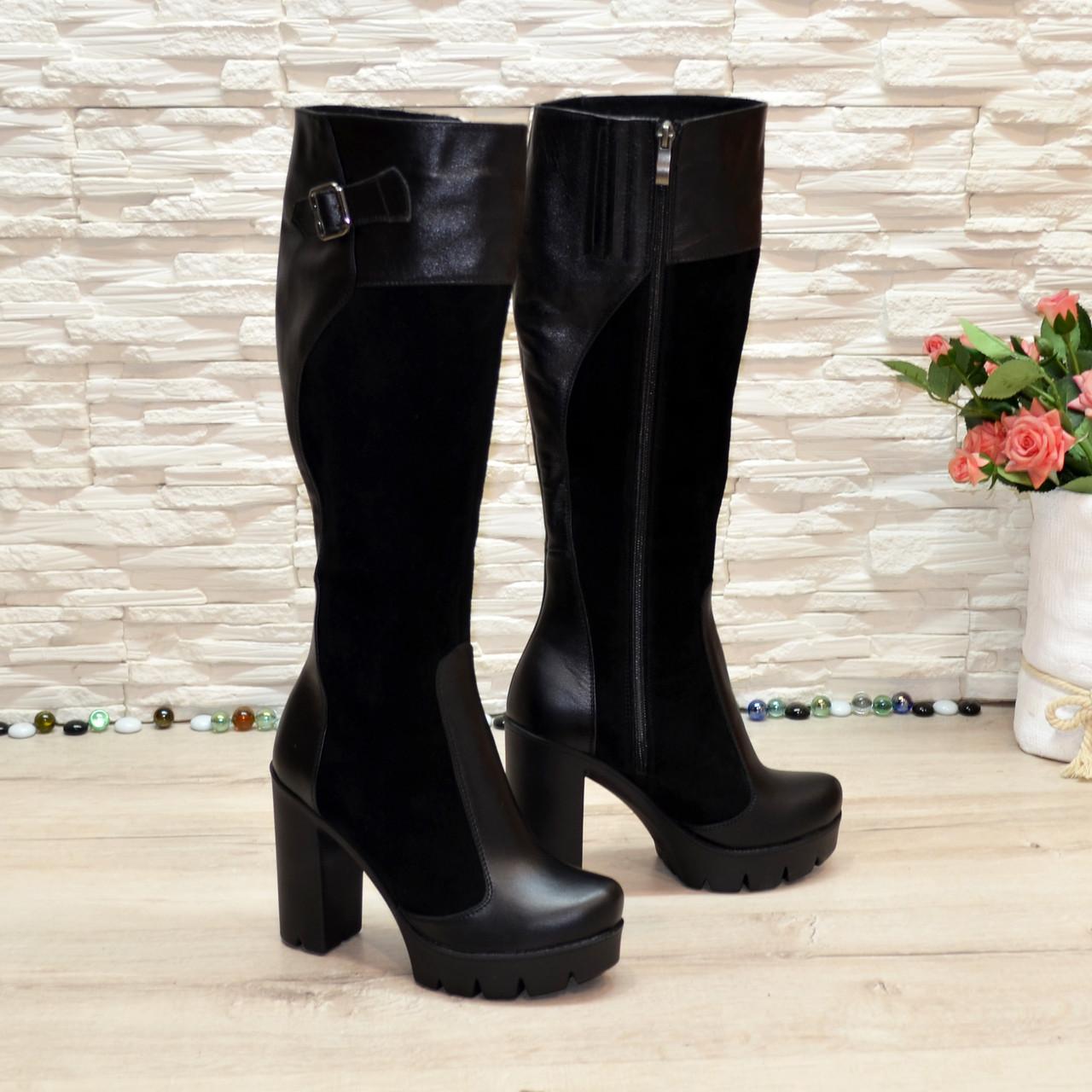 Сапоги женские весенние комбинированные замша и кожа, на высоком каблуке.