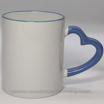 Чашка сублимационная цветная с ободком LOVE  330 мл ГОЛУБАЯ