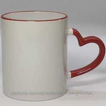 Чашка сублимационная цветная с ободком LOVE  330 мл КРАСНАЯ
