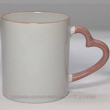 Чашка сублимационная цветная с ободком LOVE 330 мл РОЗОВАЯ