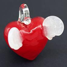 Кулон Сердце Лэмпворк, Ручная Работа, Цвет: Красный, Размер: 29х21х8мм, Отверстие 5мм, (УТ000003756)