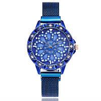 Женские часы с вращающимся крутящимся циферблатом Chanel Flower Diamond Rotation Watch (синий)