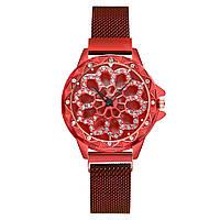 Женские часы с вращающимся крутящимся циферблатом Chanel Flower Diamond Rotation Watch (красный)