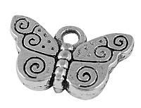 Кулон Бабочка, Металл, Цвет: Античное Серебро, Размер: 10х15х3мм, Отверстие 2мм, (УТ000004943)