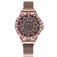 Женские часы с вращающимся крутящимся циферблатом Chanel Flower Diamond Rotation Watch (коричневый)